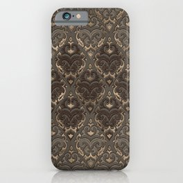 Oriental Pattern -Pastels and Brown Leather texture iPhone Case