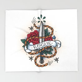 Rogue - Vintage D&D Tattoo Throw Blanket