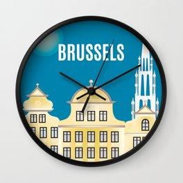 Brussels, Belgium - Skyline Illustration by Loose Petals Wall Clock