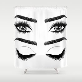 Eyes with long eyelashes and brows Shower Curtain