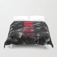 decal Duvet Covers featuring black ocean by LEEMO