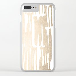 White Gold Sands Bamboo Stripes Clear iPhone Case