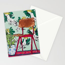 School Chair and Mint Cockatoo Wallpaper Stationery Cards