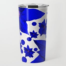 Poinsettia Blue Indigo Pattern Travel Mug