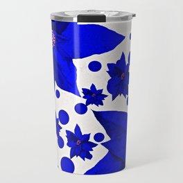 Poinsettia Blue Indigo Pattern Travel Mug