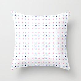 rhombus and tartan 8 -  pink and blue Throw Pillow