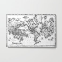 Black and White World Map (1864) 2 Metal Print