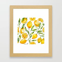 lemon watercolor Framed Art Print