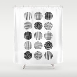 Abstract Lines Circles in Black and White Shower Curtain