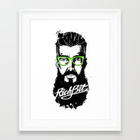 hipster lion Framed Art Prints featuring RichBit. Hipster by New Lion Studio