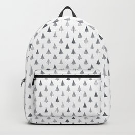 Rustic Christmas Trees Black and White Backpack