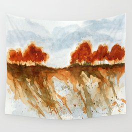 Firebranch Ridge, Watercolor Abstract Landscape Art Wall Tapestry
