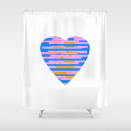Glitching Hearts — Pink, Blue, and Orange Shower Curtain