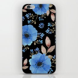 Blue flowers with black iPhone Skin