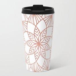 Mandala Flowery Vine Rose Gold on White Travel Mug