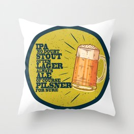 Beer always, vintage poster, circle, yellow Throw Pillow