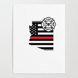 Arizona Firefighter Shield Thin Red Line Flag Poster