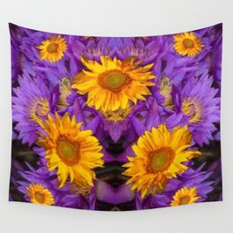 YELLOW SUNFLOWERS AMETHYST FLORALS Wall Tapestry