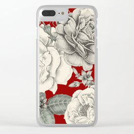 SEPIA FLOWERS ON RED Clear iPhone Case