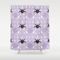 baphomet Shower Curtains featuring All Hail the Cuteness! by Sugar Sparkle