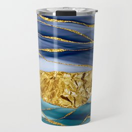 Blue And Teal And Gold Mermaid Glamour Marble Landscape  Travel Mug