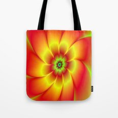 Red Yellow Green and Orange Flower Tote Bag