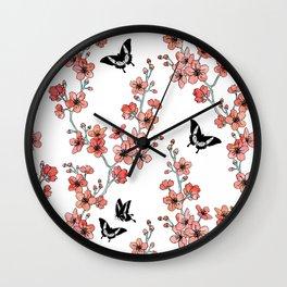 Sakura butterflies in peach pink Wall Clock