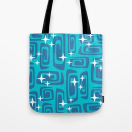 Mid Century Modern Cosmic Galaxies 436 Blue and Turquoise Tote Bag