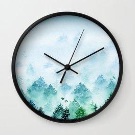 Winter Wonderland   Watercolor Misty Forest Wall Clock