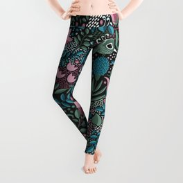 Tropical Birds and Flowers Pattern Leggings