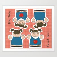 Good Twin/Bad Twin Puppets Art Print
