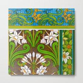 Jonquil Art Nouveau Flower Tiles Metal Print