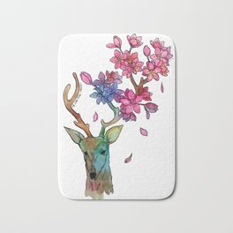 A deer with cherryblossom Bath Mat