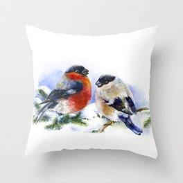 Bullfinches in winter time. Christmas Watercolor Art Throw Pillow