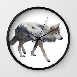 Double exposure of wolf and pine forest on white background Wall Clock