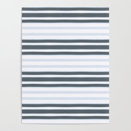 Light Baby Blue and white grey stripes Poster
