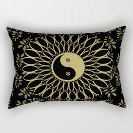 'Yin Yang Golden Daisy' Gold Black mandala Rectangular Pillow