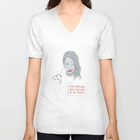 emma stone V-neck T-shirts featuring Illustration Emma Stone 'Grilled Cheese' by Katie Munro