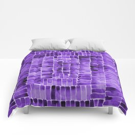 Watercolor abstract rectangles - purple Comforters