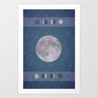 moon phase Art Prints featuring Geometric Moon Phase by Moonbeam
