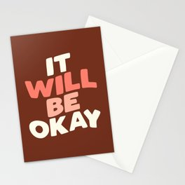 IT WILL BE OKAY peach pink white and red Stationery Cards