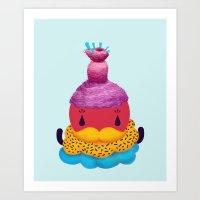 Cupcake Santa Claus Art Print