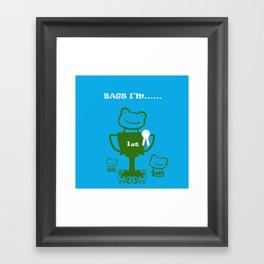 Little Frog- bags I'm first Framed Art Print