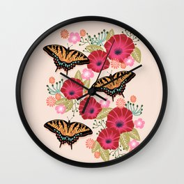 Swallowtail Florals by Andrea Lauren  Wall Clock