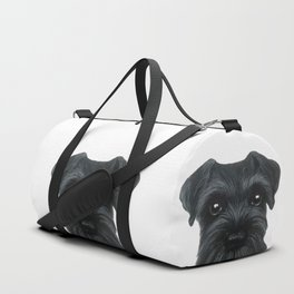 Black Schnauzer, Dog illustration original painting print Duffle Bag