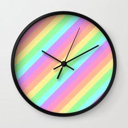 Pastel Rainbow Diagonal Stripes Wall Clock