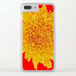 Golden Yellow Chrysanthemums Red Art Design Clear iPhone Case
