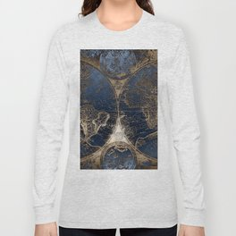 World Map Deep Blue and Gold Long Sleeve T-shirt