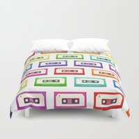 cassette Duvet Covers featuring Cassette Tapes by Sara Showalter