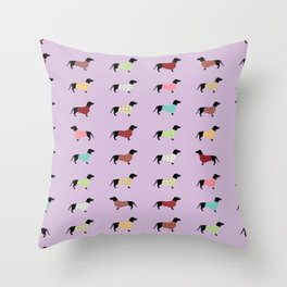Dachshund - Purple Sweaters #251 Throw Pillow